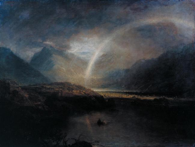 Buttermere Lake, with Part of Cromackwater, Cumberland, a Shower exhibited 1798 by Joseph Mallord William Turner 1775-1851